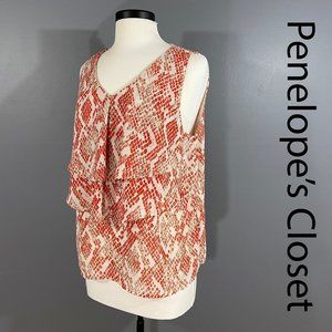 3/$20 212 COLLECTION Tiered Snake Print Tank Top L
